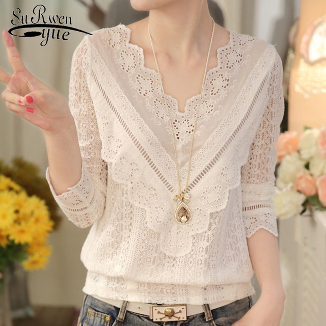 2021 Lace Shirt Long Sleeve Fashion Women Blouse Spring and Autumn Korean See-Through V Neck Slim Blouse with Lace Female 63C