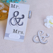 Free Shipping wedding favor gift and giveaways for guests--Mr & Mrs Ampersand Wine Bottle Opener party favors 40pcs/lot