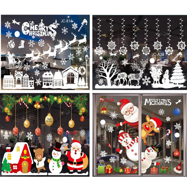 Merry Christmas Wall Stickers Window Glass Stickers Christmas Decorations For Home 2020 Navidad Ornaments Xmas New Year 2021