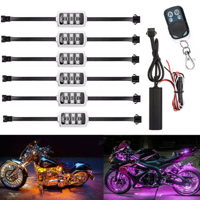 12V Motorcycle Car Atmosphere Light 6 RGB 36 LED Smart Brake Lights with Wireless Remote Control Moto Decorative Strip Lamp Kit