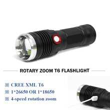 Military zoom USB flashlight rechargeable 18650 26650 battery waterproof CREE XML T6 / L2 4 mode led flash lights lanterna torch