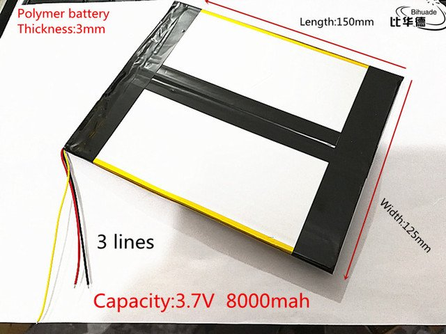 3 line 3.7V,8000mAH (polymer lithium ion battery) Li-ion battery for tablet pc 7 inch 8 inch 9inch 30125150