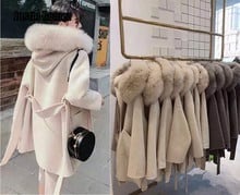 Brand famous Real Cashmere wool Coat With natural Fox Fur Trim Hoodie  ladies real fur Coats Outwear