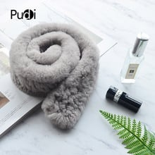 PUDI SF816 women winter warm fur scarf 2018 new style real rabbit fur scarves wraps rings black white color