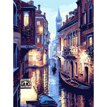 Frame Venice Landscape DIY Calligraphy Painting By Numbers Kit Picture By Numbers Frameless Painting For Home Deco