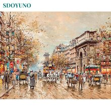 SDOYUNO 60x75cm Painting By Numbers DIY Digital Painting Frameless Street Coloring By Numbers On Canvas Home Decor