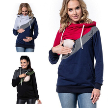 Cotton Fashion Casual Patchwork Maternity Clothes Long Sleeve Nursing Top Breastfeeding Hoodie for Pregnant Outwear Clothes