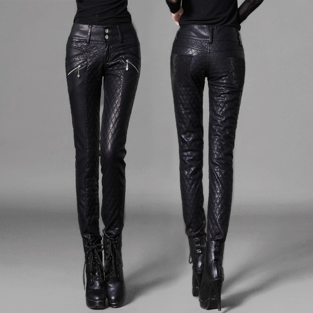 Pencil pants PU slim thickening women's trousers casual cotton-padded leather female pants