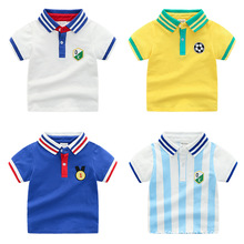CHILDREN'S Short-sleeved T-shirt Moisture Wicking Fold-down Collar College Style Athletic Polo Shirt Boys' Shirt Manufacturers D