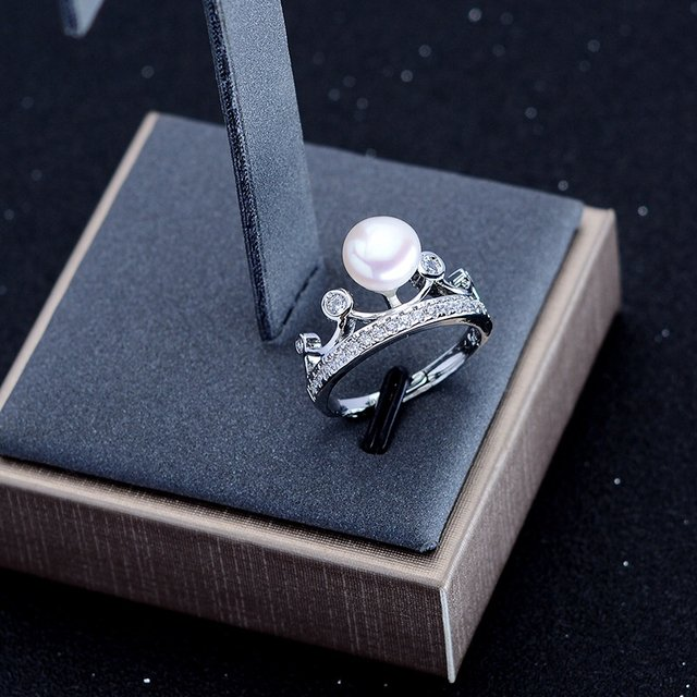 New Arrival FREE SIZE ADJUSTABLE Crown Freshwater Pearl Ring Finger Ring Jewelry Nice Party Gift Present to Friend Lover