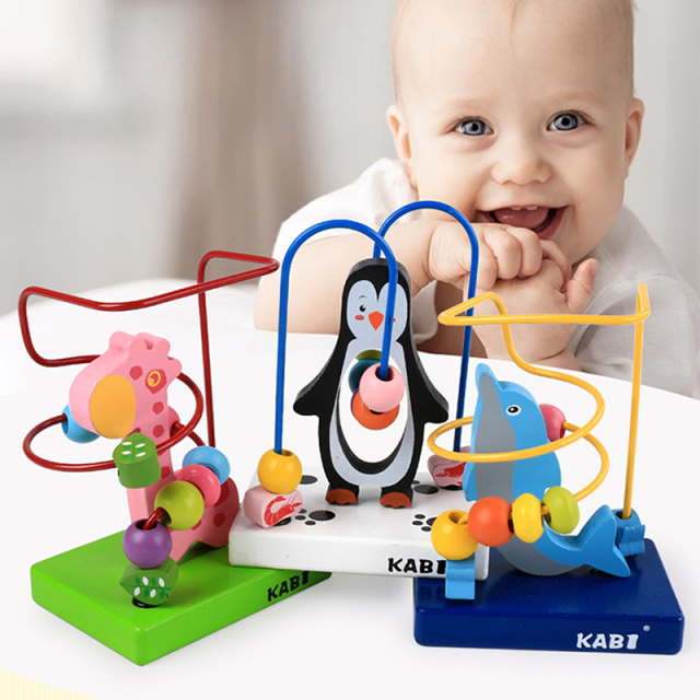 Baby Educational Toys Multifunctional Animal Beads Maze Dolphins Giraffes Baby Early Learning Wooden Toys Birthday Gift
