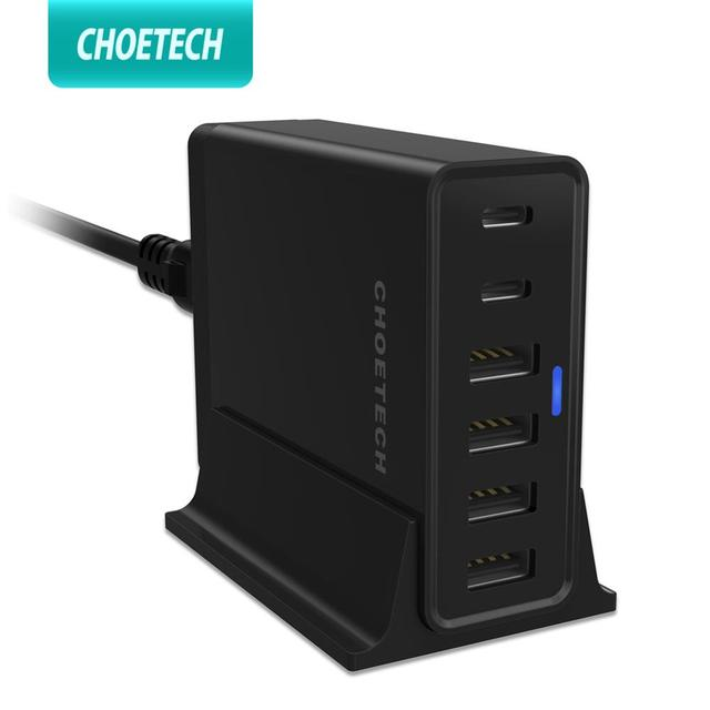 CHOETECH 6-Port 55W Desktop Charge Station With 2-Port USB Type C Charger for iPhone 11 X XS 8 4-Port USB Charger Wall Charger