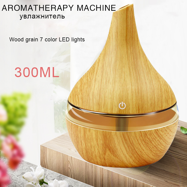 USB Aroma Air Diffuser Wood Ultrasonic Air Humidifier 300ml Essential Oil Aromatherapy Cool Mist Maker For Home office