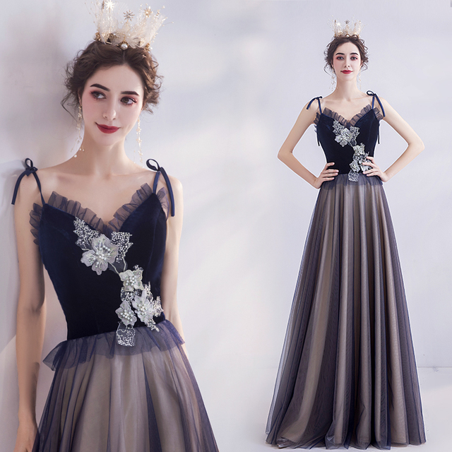 Simple Evening Dress A-line Tulle Flowers Beaded Pearls Elegant 2020 New Fashion Party Dresses Evening Gowns JA62