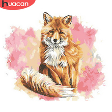 HUACAN Pictures By Number Fox Animal Drawing Canvas Acrylic Handpainted Wall Art Painting By Number Gift Home Decor