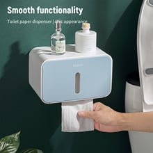 Toilet Paper Holder Waterproof Wall Mounted Bathroom Tissue Box Tray Roll Paper Tube Storage Shelf Kitchen Paper Dispenser