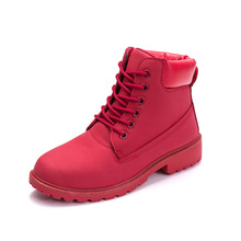 Fashion Women Martins Boots Spring Autumn Motorcycle Ankle Platform Boots Ladies Boots Black PU Leather Shoes Plus Size 36-43