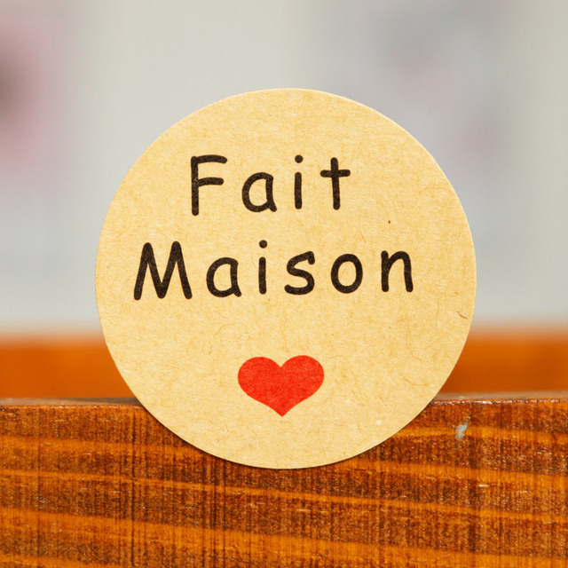 """102PCS French Hand made """"Fait Maison"""" Gift Stickers Bakery Cookie Packaging Bag Kraft Paper Seal Labels"""