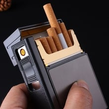Cigarette Case Box Lighter with Flameless Removable Electronic Lighter Windproof Torch Lighter