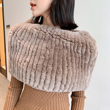 YCFUR Winter Scarf Cape Women Warm Soft Thick Real Fur Scarves Shawls Female Elastic Knitted Rex Rabbit Fur Scarf Wrap Female