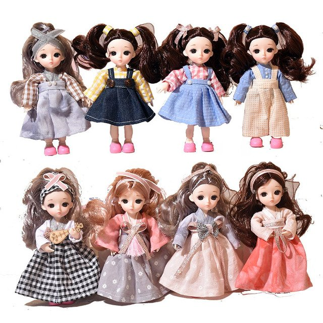12 Joints 16cm Baby Doll Adorable Dress Up Mini Princess Girl Dolls Toys