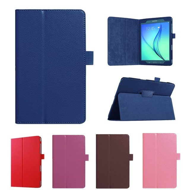 2017 New Solid Leather Case For Samsung Galaxy Tab A 8.0'' T350 T355 SM-T355 SM-T350 Tablet Stand Folding Protective Shell Case