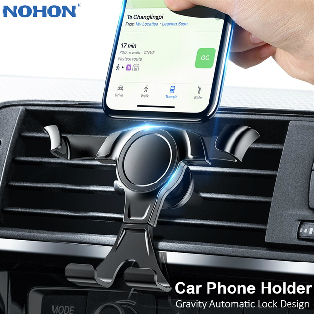 Nohon Gravity Car Phone Holder For iPhone 11 Pro Max X XS 8 7 6 in Car Air Vent Clip Mount Stand No Magnetic Mobile Phone Holder