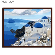 HOT! Frameless Wall Art Picture Painting By Numbers DIY Canvas Oil Painting Home Decor Of Blue Mediterranean G005