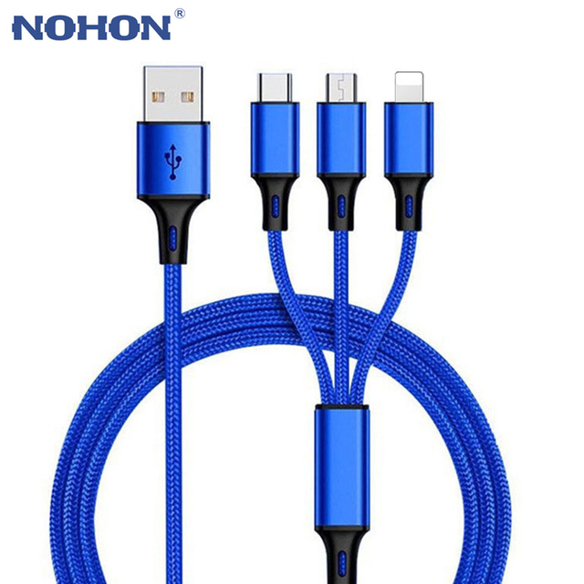 3 in 1 2 in 1 USB Type C Micro 3A Fast Charger Cable For iPhone XS Max X XR 5S 6 6S 7 8 Plus Samsung S10 Android Phone Wire Cord