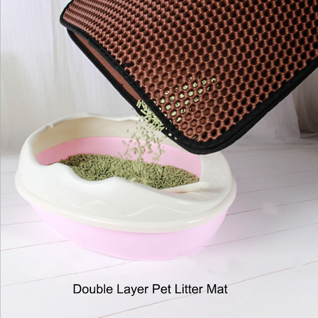 Pet cat litter mat with Double layer waterproof clean pad accessories for dog cat toilet