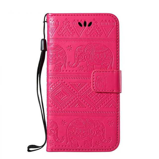 Leather Capa Elephant Embossing Stand Cases For Moto E4 E5 Plus EU G6 Play X4 X 2017 Z3 Play Flip Fundas Covers Card Slot P02Z