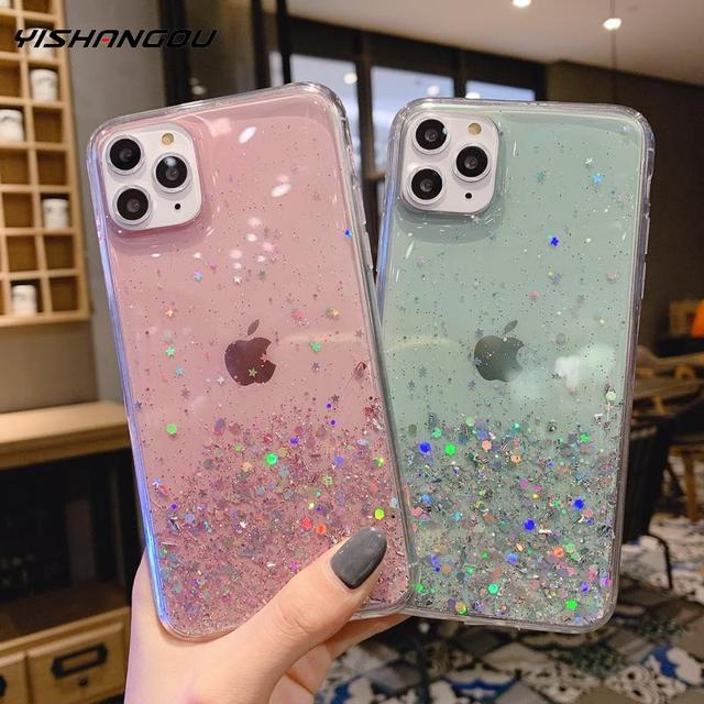 YISHANGOU For iPhone 11 12 Pro Max XS XR X 8 7 6s Glitter Crystal Clear Epoxy Soft Case For iPhone 11 6 6s Plus Cover