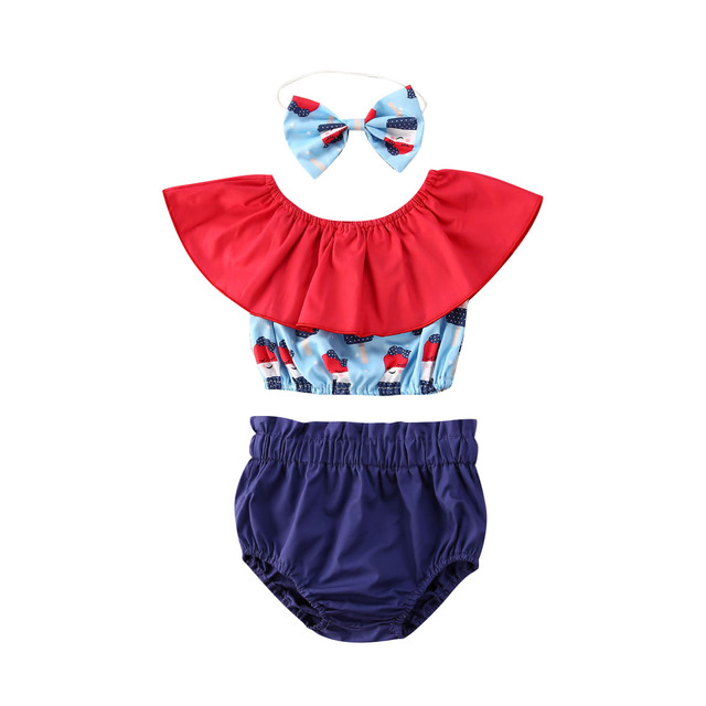 New 3Pcs Baby Girl Ice Cream Clothes Summer Toddler Kids Tops+Shorts Outfits 2020 Summer Girl Clothes