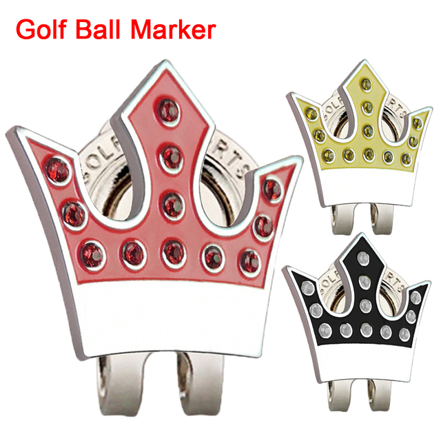 GOG 1PC Golf Ball Marker With Magnetic Cap Clips 3 Colours Red Yellow Black Crown With Rhinestone For Golfer Gift Dropshipping