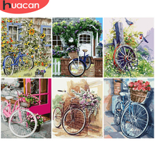 HUACAN Painting By Number Flower Bicycle Drawing Canvas Acrylic Handpainted Pictures By Number Wall Art For Adults Home Decor