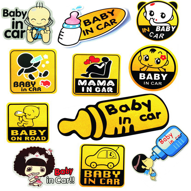 12 models Baby on road baby in car Cartoon reflective car sticker  Car styling Accessories warning decal sticker waterproof