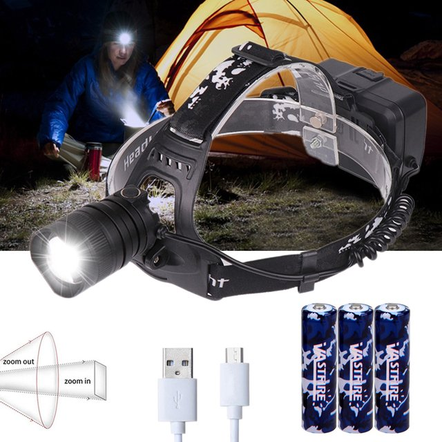 USB Rechargeable XHP50 headlamp Headlight high powerful head lamp torch ZOOM Head light Best for Camping