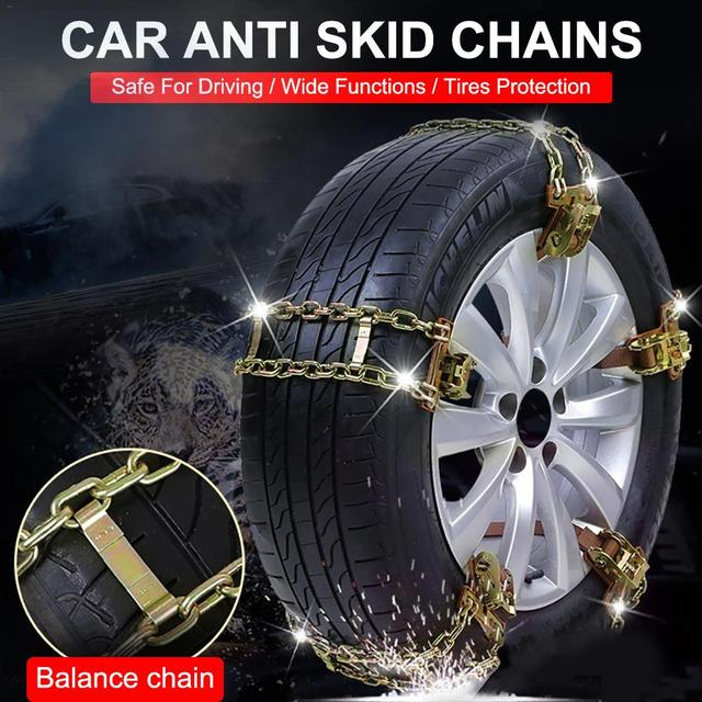 Car Anti-skid Chain Balancing Anti-slip Steel Chain Wear-resistant Car Chains For Winter Ice Snow Mud Road Car Tire Accessories