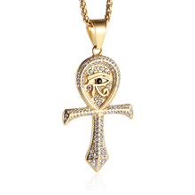 HZMAN CZ Eye of Horus Egypt Protection Pendant Coptic Ankh Cross Religious Stainless Steel Necklace