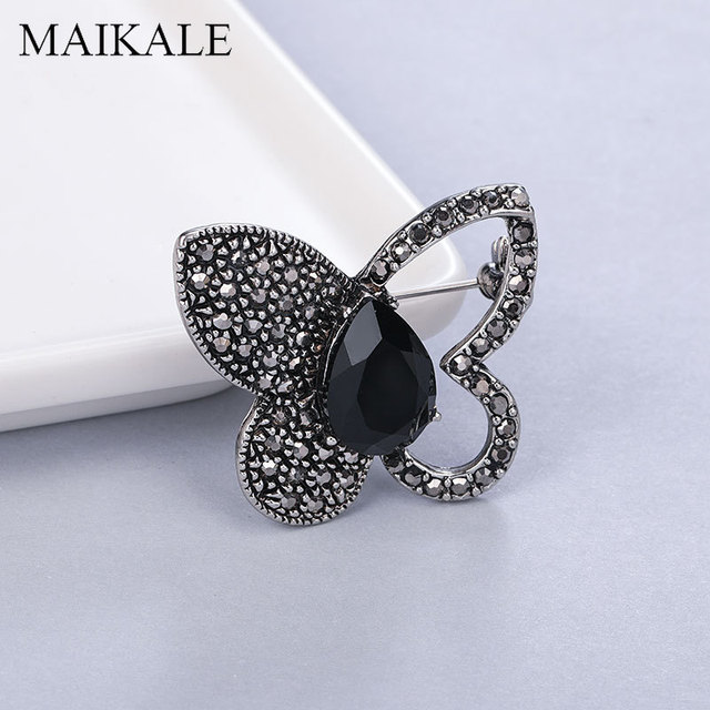 MAIKALE Crystal Butterfly Brooch Pins Half Hollow Butterfly Shape Heart Rhinestone Opal Insect Brooches for Women Girls Gifts