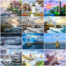 HUACAN Painting By Number Lighthouse Landscape Wall Art Picture By Number Sea Drawing Canvas Acrylic Handpainted Home Decor