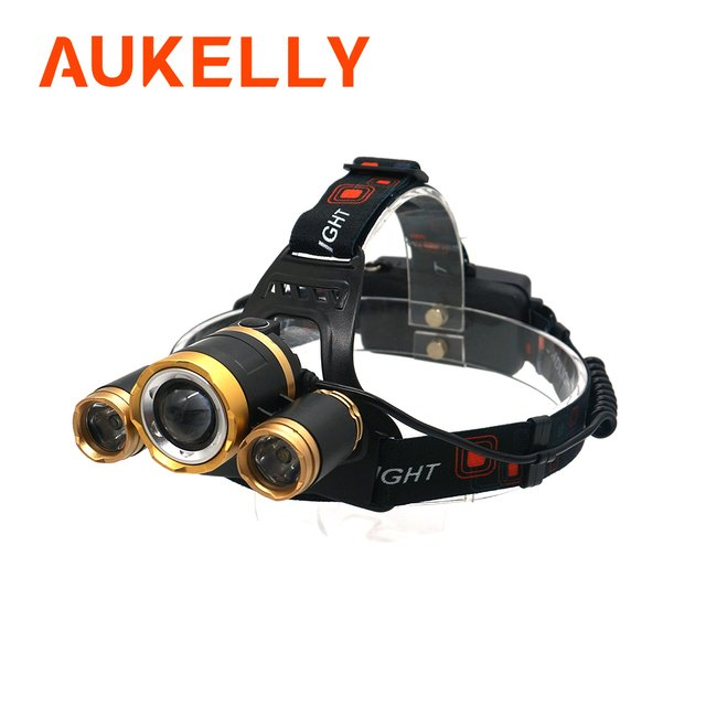 Super bright LED headlamp XM-T6x3 LED Rechargeable Headlight Zoomable Head Lamp Torch Lamp Camping Fishing lantern Use 18650