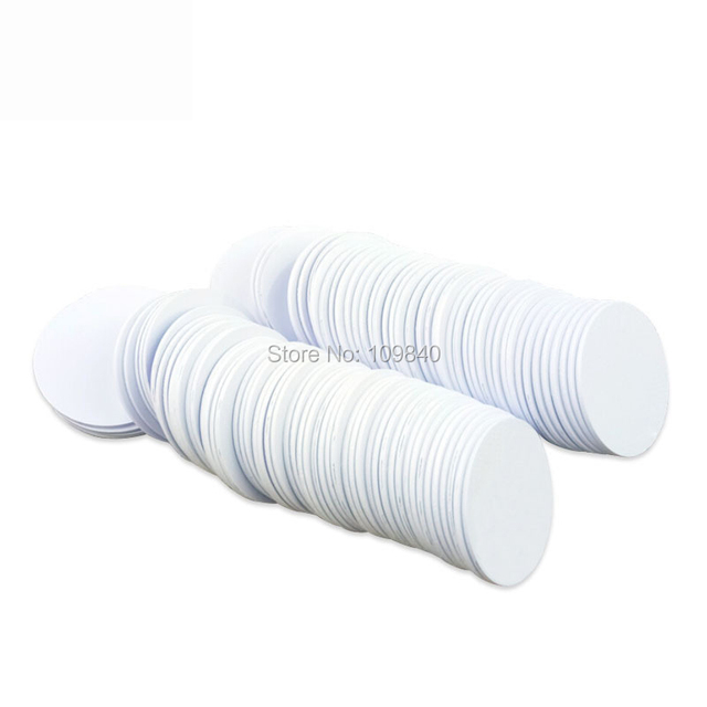 100pcs 125KHz Dia 30mm PVC RFID Token with TK4100 chip for access control/NFC/E-ticket