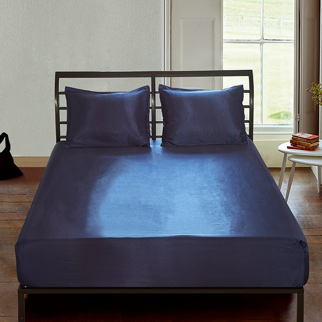 Solid Satin Silk Bed Fitted Sheet Smooth Mattress Pad Cover Twin Full Queen King