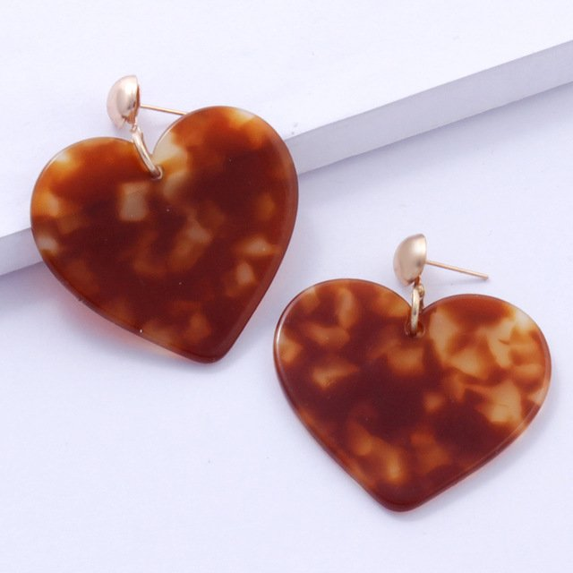 New Arrival Acrylic Resin Leopard Dangle Earrings Women Treny Tortoiseshell Heart Shape Geometry Charms Party Jewelry Brincos