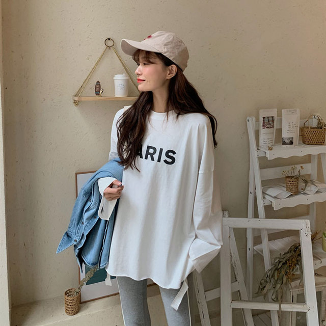 Sale Kpop Korean Spring Women's College Style Loose Ride Lazy Wind Pure Color Long-sleeved Bottom Shirt T-shirt In The Top