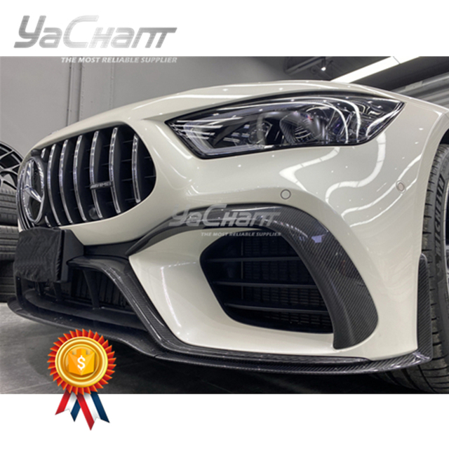 Carbon Fiber Front Canard Fit For 2019-2020 MB AMG GT63 4D Coupe OEM Style Front Bumper Canards