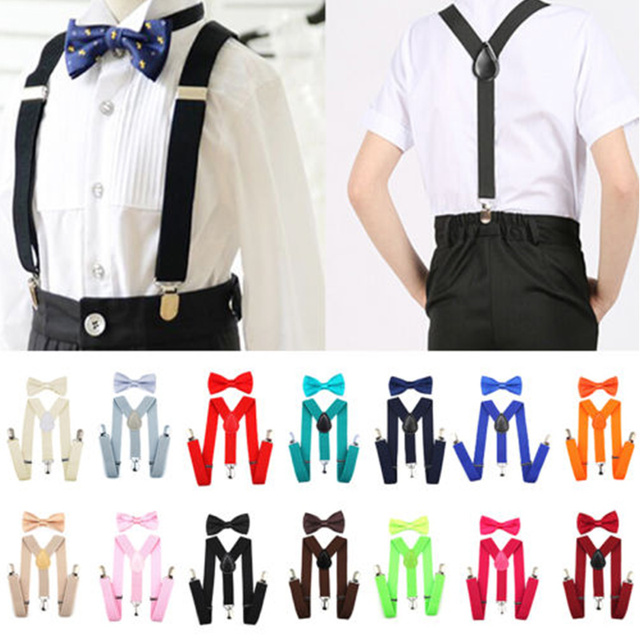 Kids Suspenders with Bowtie Ties Accessories Fashion Children Bow Tie Set Boys Braces Girls Adjustable Suspenders Baby Wedding
