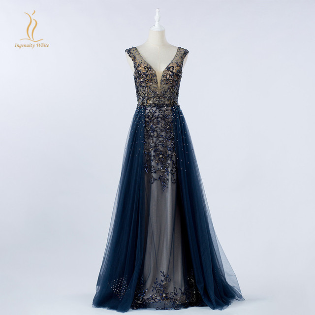 Navy Blue Celebrity Formal Dress Sexy Backless V Neck Heavy Beaded Party Evening Gown with Overskirt Long Tulle Vestido de Festa