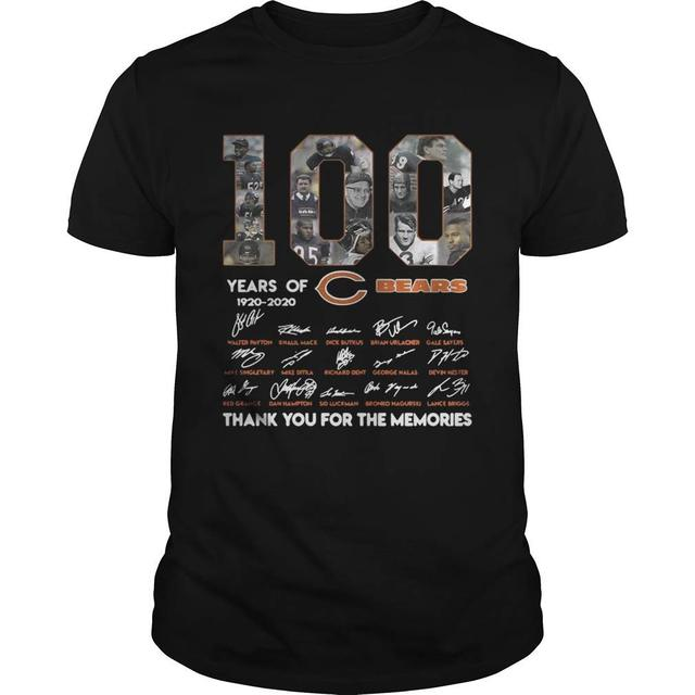 100 years of Chicago Bears 1920 2020 signature thank you for the shirt unisex men women t shirt